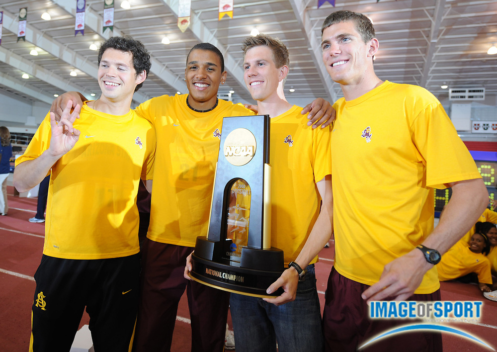 Mar 15, 2008; Fayetteville, AR, USA; The Arizona State distance medley relay team (from left) Nectaly Barbosa, Justin Kremer, Joey Hellter and Kyle Alcorn hold the team championship plaque at the NCAA indoor track and field championships at the Randal Tyson Center.
