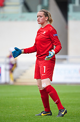 LLANELLI, WALES - Wednesday, August 28, 2013: France's goalkeeper Solene Durand in action against Germany during the Semi-Final match of the UEFA Women's Under-19 Championship Wales 2013 tournament at Parc y Scarlets. (Pic by David Rawcliffe/Propaganda)