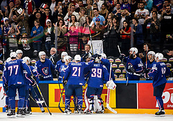 Players of France salute to Cristobal Huet of France at his last game in his career during the 2017 IIHF Men's World Championship group B Ice hockey match between National Teams of France and Slovenia, on May 15, 2017 in AccorHotels Arena in Paris, France. Photo by Vid Ponikvar / Sportida