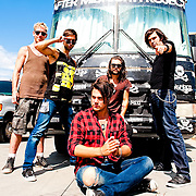 Portrait session with After Midnight Project after their performance at KROQ's Epicenter '09: Presented By Rogue at the Fairplex on August 22, 2009 in Pomona, California. Pictured front: Jason Evigan; rear from left: TJ Armstrong, Spencer Bastian, Christian Meadows, Dan Morris.