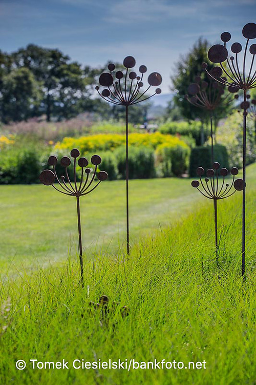 Metal sculpture located in Sussex prairie garden