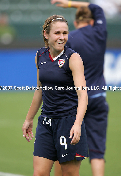 25 August 2007: Heather O'Reilly. The United States Women's National Team defeated the Women's National Team of Finland 4-0 at the Home Depot Center in Carson, California in an International Friendly soccer match.
