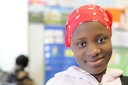 Student recently arrived from Burundi in class at secondary school for immigrants and ELL's in Seattle