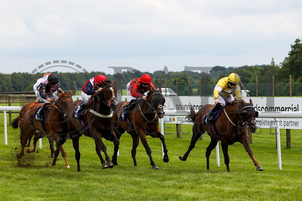 Corinthia Knight ridden by Hollie Doyle (T: Archie Watson) (yellow silks) wins the 13:35 Signs Express Handicap from Big Lachie ridden by Richard Kingscote - Rogan/JMP - 14/07/2020 - HORSE RACING - Bath Racecourse - Bath, England.