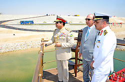 06.08.2015, Sueskanal, EGY, Sueskanal Kanal Erweiterung, im Bild Feierlichkieiten zur Sueskanal Erweiterung // Egyptian President Abdel-Fattah el-Sissi stands on a monarchy-era yacht that sailed to the venue of a ceremony unveiling a major extension of the Suez Canal in Ismailia, August 6, 2015. El-Sissi has billed the extension as an historic achievement needed to boost the country s ailing economy after years of unrest, Egypt on 2015/08/06. EXPA Pictures © 2015, PhotoCredit: EXPA/ APAimages/ Egyptian President Office<br /> <br /> *****ATTENTION - for AUT, GER, SUI, ITA, POL, CRO, SRB only*****