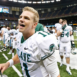 Oct 5, 2013; New Orleans, LA, USA; Tulane Green Wave quarterback Nick Montana (11) celebrates after a win over the North Texas Mean Green at Mercedes-Benz Superdome. Tulane defeated North Texas 24-21. Mandatory Credit: Derick E. Hingle-USA TODAY Sports