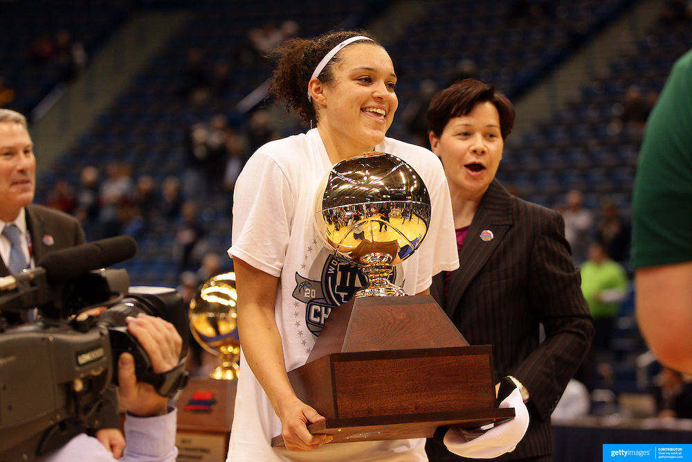 Kayla McBride, Notre Dame, with the trophy after the Connecticut V Notre Dame Final match won by Notre Dame 61-59 during the Big East Conference, 2013 Women's Basketball Championships at the XL Center, Hartford, Connecticut, USA. 11th March. Photo Tim Clayton