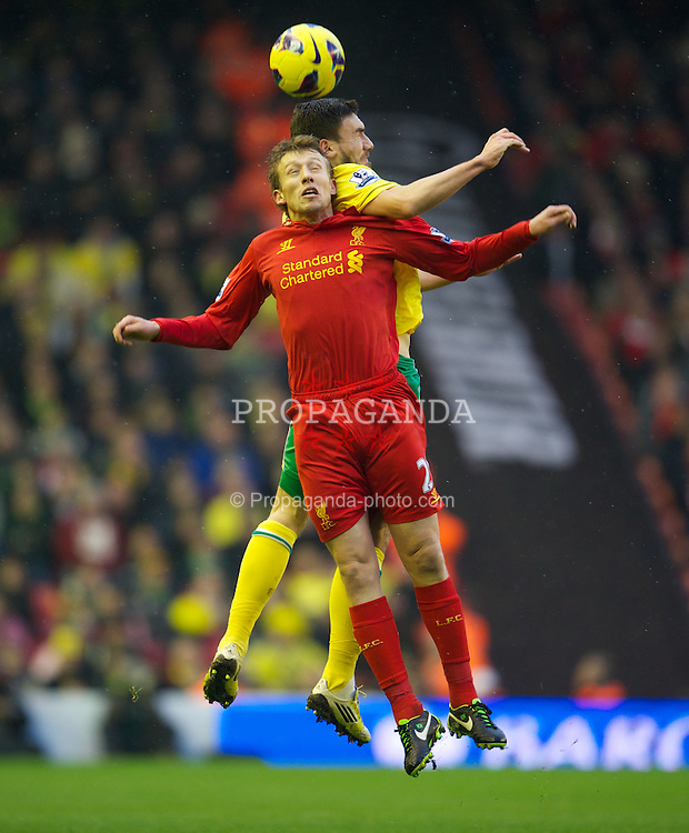 LIVERPOOL, ENGLAND - Saturday, January 19, 2013: Liverpool's Lucas Leiva in action against Norwich City's Robert Snodgrass during the Premiership match at Anfield. (Pic by David Rawcliffe/Propaganda)