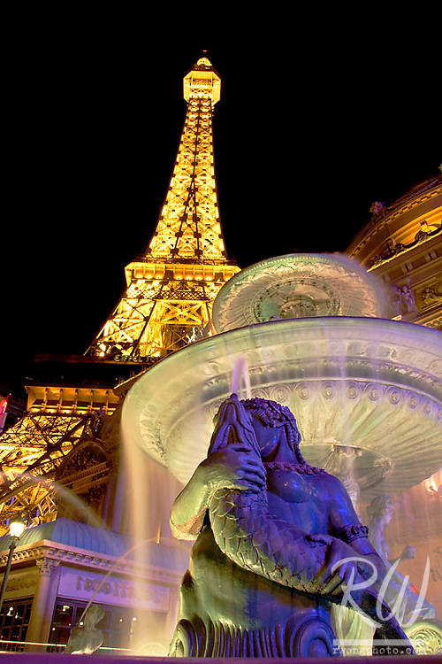 Mermaid Fountain Statue and Eiffel Tower at the Paris Hotel and Casino Resort, Las Vegas, Nevada