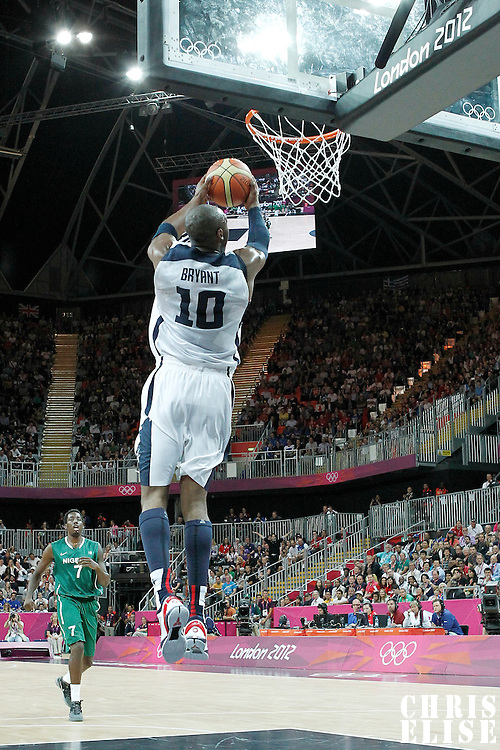 02 August 2012: USA Kobe Bryant goes for the dunk during 156-73 Team USA victory over Team Nigeria, during the men's basketball preliminary, at the Basketball Arena, in London, Great Britain.