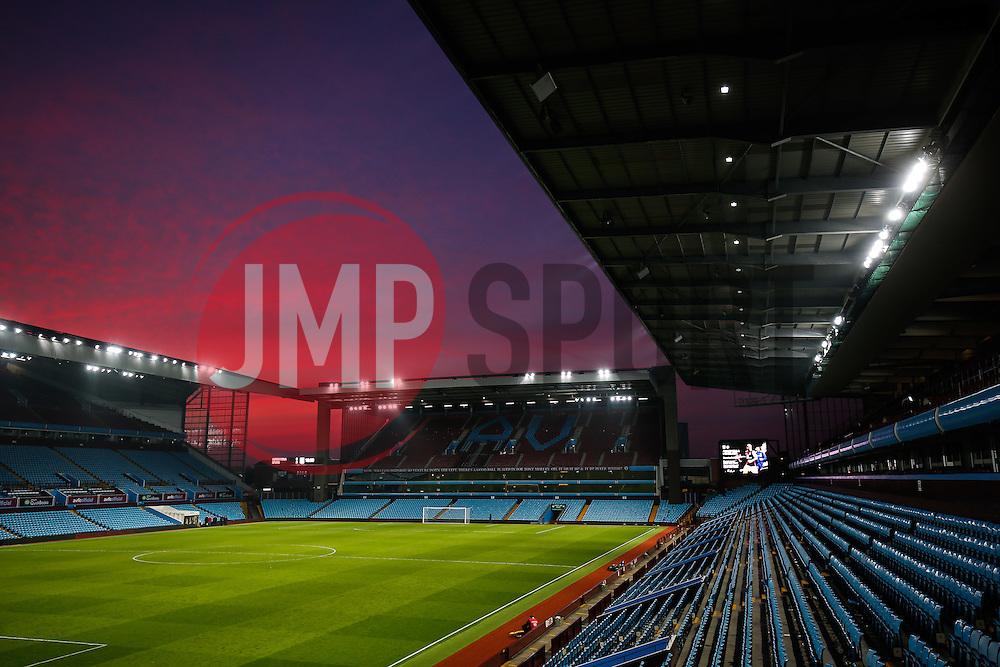 General View of a red sky as the sun sets over Villa Park after the match - Mandatory byline: Rogan Thomson/JMP - 13/03/2016 - FOOTBALL - Villa Park Stadium - Birmingham, England - Aston Villa v Tottenham Hotspur - Barclays Premier League.