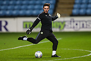 Forest Green Rovers goalkeeper James Montgomery warming up during the EFL Trophy match between Coventry City and Forest Green Rovers at the Ricoh Arena, Coventry, England on 9 October 2018.