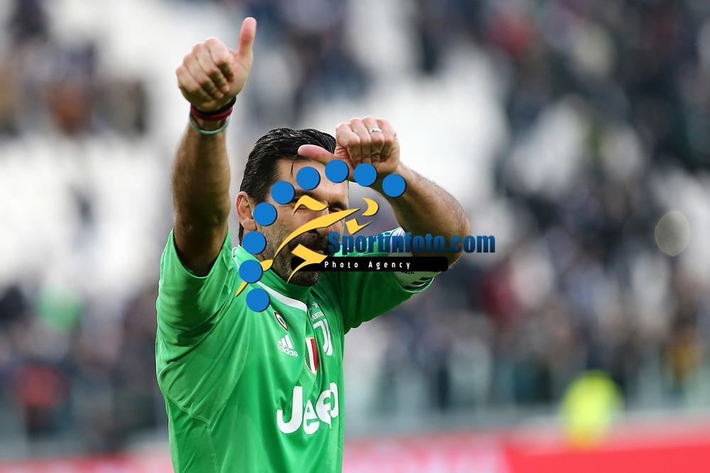04.02.2018 - Torino - Serie A 2017/18 - 23a giornata  -  Juventus-Sassuolo nella  foto: Gianluigi Buffon esulta a fine partita