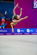 Gergalo Rebecca during the qualification of the clubs at the Pesaro World Cup 2018.<br /> She was born in Finland in Finland in 2000. Her dream is to participate in the 2020 Olympic Games in Tokyo.