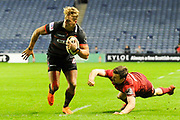 Duhan van der Merwe breaks tackle to score try during the Guinness Pro 14 2017_18 match between Edinburgh Rugby and Munster Rugby at Myreside Stadium, Edinburgh, Scotland on 16 March 2018. Picture by Kevin Murray.