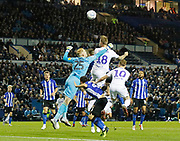 Leeds United defender Pontus Jansson (18) heads over during the EFL Sky Bet Championship match between Sheffield Wednesday and Leeds United at Hillsborough, Sheffield, England on 28 September 2018.