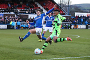 Forest Green Rovers Keanu Marsh-Brown(7) crosses the ball during the FA Trophy match between Macclesfield Town and Forest Green Rovers at Moss Rose, Macclesfield, United Kingdom on 4 February 2017. Photo by Shane Healey.