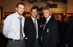 Left to right, England cricketers JAMES HARMISON, MARCUS TRESCOTHICK and MATTHEW HOGGARD at a party hosted by Alfred Dunhill - the official supplier of the England Cricket team uniform, to celebrate their collaboration prior to the imminent Test Match against the West Indies at Lords, held at Alfred Dunhill store, 48 Jermyn Street, London SW1 on 20th July 2004.