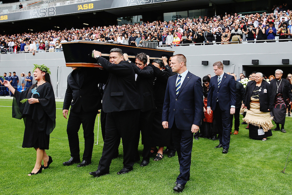 The casket carrying the body of Jonah Lomu is carried onto the field for the Remembering former All Black Jonah Memorial Service, Eden Park,, Auckland New Zealand, Monday, November 30, 2015. Credit:SNPA / Getty, Hannah Peters **POOL**