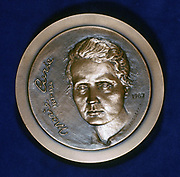 Marie Sklodowska Curie (1867-1934) Polish-born French physicist. Obverse of medal issued in 1967 to commemorate the centenary of her birth and celebrating the isolation of Polonium and Radium which she achieved in 1898