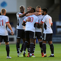 TELFORD COPYRIGHT MIKE SHERIDAN 14/8/2018 - GOAL. Daniel Udoh of AFC Telford is congratulated by team mates after scoring to make it 1-0 during the Vanarama Conference North fixture between AFC Telford United and Brackley Town.