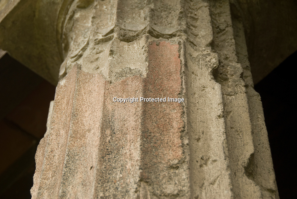 detail of a Roman Column in Pompeji, note the rest of the coloured stucco