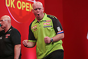 Michael van Gerwen hits a 170 finish and celebrates during the Ladrokes UK Open 2019 at Butlins Minehead, Minehead, United Kingdom on 1 March 2019.