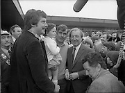 15/05/1982<br /> 05/15/1982<br /> 15 May 1982<br /> An Taoiseach, Mr Charles Haughey, canvasing with Fianna Fail bye-election candidate Eileen Lemass in Dublin West. An Taoiseach Charley Haughey meeting the people, possibly at the Superquinn Centre in Blanchardstown.