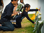 20 OCTOBER 2016 - BANGKOK, THAILAND: A girl places flowers for the late Bhumibol Adulyadej, the King of Thailand, against the wall of the Grand Palace across the street from Sanam Luang. Sanam Luang, the Royal Ceremonial Ground, is packed with people mourning the Monarch's death. The King died Oct. 13, 2016. He was 88. His death came after a period of failing health. Bhumibol Adulyadej was born in Cambridge, MA, on 5 December 1927. He was the ninth monarch of Thailand from the Chakri Dynasty and is also known as Rama IX. He became King on June 9, 1946 and served as King of Thailand for 70 years, 126 days. He was, at the time of his death, the world's longest-serving head of state and the longest-reigning monarch in Thai history.        PHOTO BY JACK KURTZ