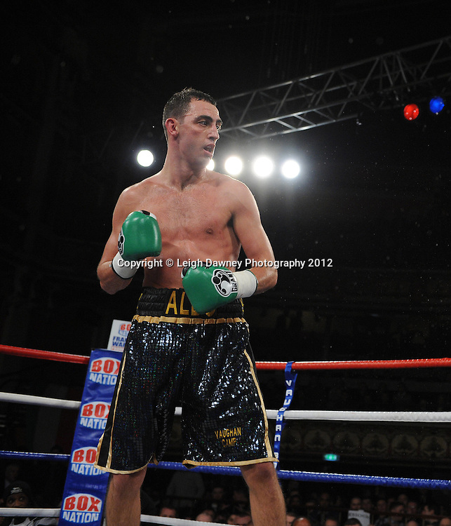 Joe Selkirk (pictured) defeats Ryan Toms in a 8x3min Light Middleweight contest at Olympia, Liverpool on the 20th January 2012. Vaughan Boxing Promotions. © Leigh Dawney Photography 2012.