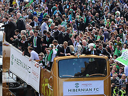 Hibernian Scottish Cup Open Top Bus Edinburgh 14 May 2016; The Hibs bus makes its way down Leith Walk during the open top bus parade in Edinburgh after winning the Scottish Cup.<br /> <br /> (c) Chris McCluskie | Edinburgh Elite media