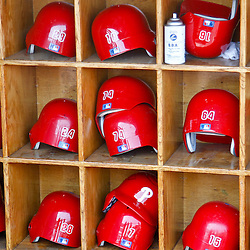 March 4, 2012; Tampa Bay, FL, USA; A detailed view of Philadelphia Phillies batting helmets in the dugout during spring training game against the New York Yankees at George M. Steinbrenner Field. Mandatory Credit: Derick E. Hingle-US PRESSWIRE