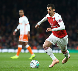 October 31, 2018 - London, England, United Kingdom - London, UK, 31 October, 2018.Henrikh Mkhitaryan of Arsenal.During Carabao Cup fourth Round between Arsenal and Blackpool at Emirates stadium , London, England on 31 Oct 2018. (Credit Image: © Action Foto Sport/NurPhoto via ZUMA Press)
