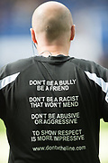 Kick it Out anti-bullying message on the back of Referee Lee Mason's shirt during the Premier League match between Leicester City and Stoke City at the King Power Stadium, Leicester, England on 1 April 2017. Photo by Jon Hobley.