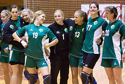From left:  Kaja Jankovic, Ekaterina Ceckova, Neli Irman, Spela Oklescen, , Spela Kogovsek, Maja Son, Vesna Pus at last 10th Round handball match of Slovenian Women National Championships between RK Krim Mercator and RK Olimpija, on May 15, 2010, in Galjevica, Ljubljana, Slovenia. Olimpija defeated Krim 39-36, but Krim became Slovenian National Champion. (Photo by Vid Ponikvar / Sportida)