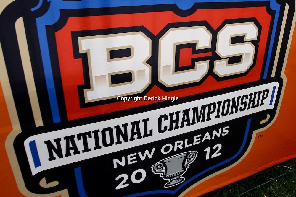 January 5, 2012; New Orleans, LA, USA; A detail of a BCS National Championship logo on the wall for the LSU Tigers team practice for the 2012 BCS National Championship game to be played on January 9, 2012 against the Alabama Crimson Tide at the Mercedes-Benz Superdome.  Mandatory Credit: Derick E. Hingle-US PRESSWIRE