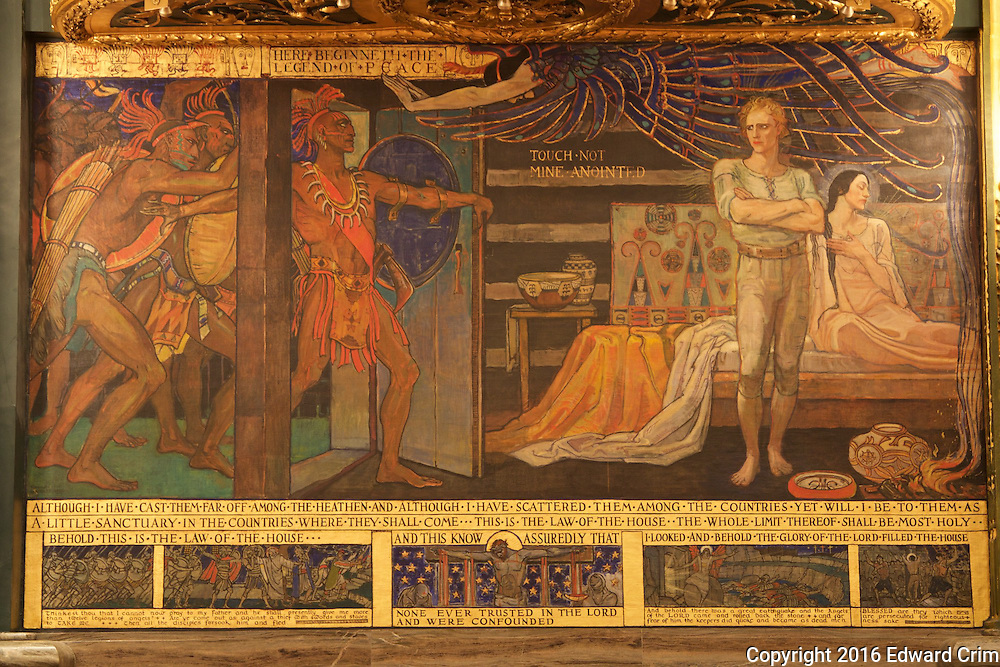 "Violet Oakley's painting ""The Legend of the Latch-string"" on the south wall of the Pennsylvania capitol's Senate chamber in Harrisburg."