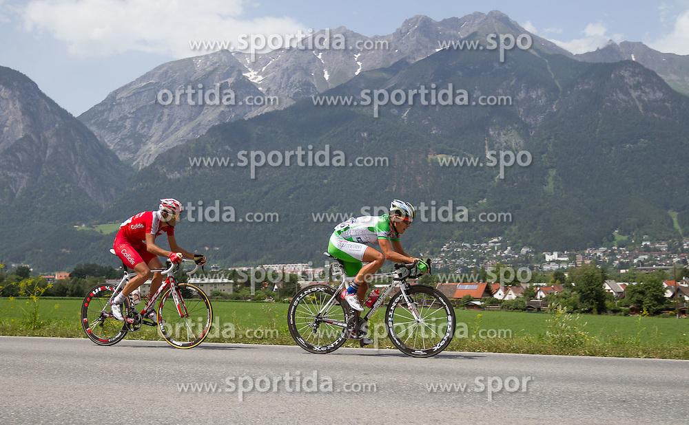 01.07.2012, Innsbruck, AUT, 64. Oesterreich Rundfahrt, 1. Etappe, EZF Innsbruck, im Bild Johan Bargot (FRA) und Riccardo Zoidl (AUT) during the 64rd Tour of Austria, Stage 1, Individual time trial in Innsbruck, Austria on 2012/07/01