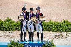 Podium Grand Prix Special, Werth Isabell, Graves Laura, Dujardin Charlotte<br /> World Equestrian Games - Tryon 2018<br /> © Hippo Foto - Dirk Caremans<br /> 14/09/2018