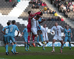 Tranmere Rovers' Owain Fon Williams jumps for the ball and misses - Photo mandatory by-line: Nigel Pitts-Drake/JMP - Tel: Mobile: 07966 386802 01/02/2014 - SPORT - FOOTBALL - Stadium MK - Milton Keynes - MK Dons v Tranmere Rovers - Sky Bet League One