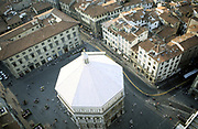 Baptistry building,  Florence, Italy, seen from above.