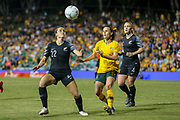 Emma Kete looks to control possession during the Cup of Nations Women's Football match, New Zealand Football Ferns v Matildas, Leichhardt Oval, Thursday 28th Feb 2019. Copyright Photo: David Neilson / www.photosport.nz