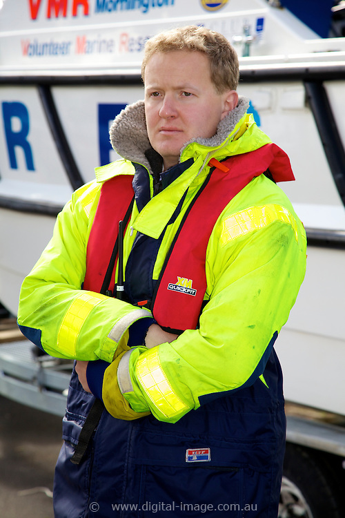 Mornington Volunteer Marine Rescue  , Tristan McLean, wearing safety equipment