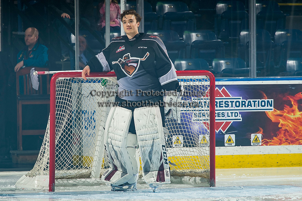 KELOWNA, BC - FEBRUARY 16:  David Tendeck #30 of the Vancouver Giants stands in net at the start of the game against the Kelowna Rockets at Prospera Place on February 16, 2019 in Kelowna, Canada. (Photo by Marissa Baecker/Getty Images)