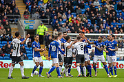 Cardiff City players and Swansea City players following a challenge on Robert Glatzel of Cardiff City by Ben Cabango of Swansea City during the EFL Sky Bet Championship match between Cardiff City and Swansea City at the Cardiff City Stadium, Cardiff, Wales on 12 January 2020.