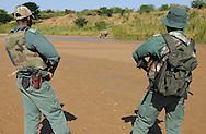 The anti paoching patrol and White rhinoceros, Cerathorium simum, iMfolozi NP, South Africa