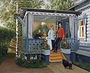 Nicolai Orenburg (1837-1898) Russian artist. Grand Duke Sergei Alexandrovich, Tsarevitch Nikolai Alexandrovich (later Tsar Nicholas II) and Grand Duke Paul Alexandrovich at Tsarskoe Selo. 1880