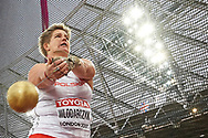 Great Britain, London - 2017 August 07: Anita Wlodarczyk (Skra Warszawa) of Poland competes in women's hammer throw final during IAAF World Championships London 2017 Day 4 at London Stadium on August 07, 2017 in London, Great Britain.<br /> <br /> Mandatory credit:<br /> Photo by © Adam Nurkiewicz<br /> <br /> Adam Nurkiewicz declares that he has no rights to the image of people at the photographs of his authorship.<br /> <br /> Picture also available in RAW (NEF) or TIFF format on special request.<br /> <br /> Any editorial, commercial or promotional use requires written permission from the author of image.