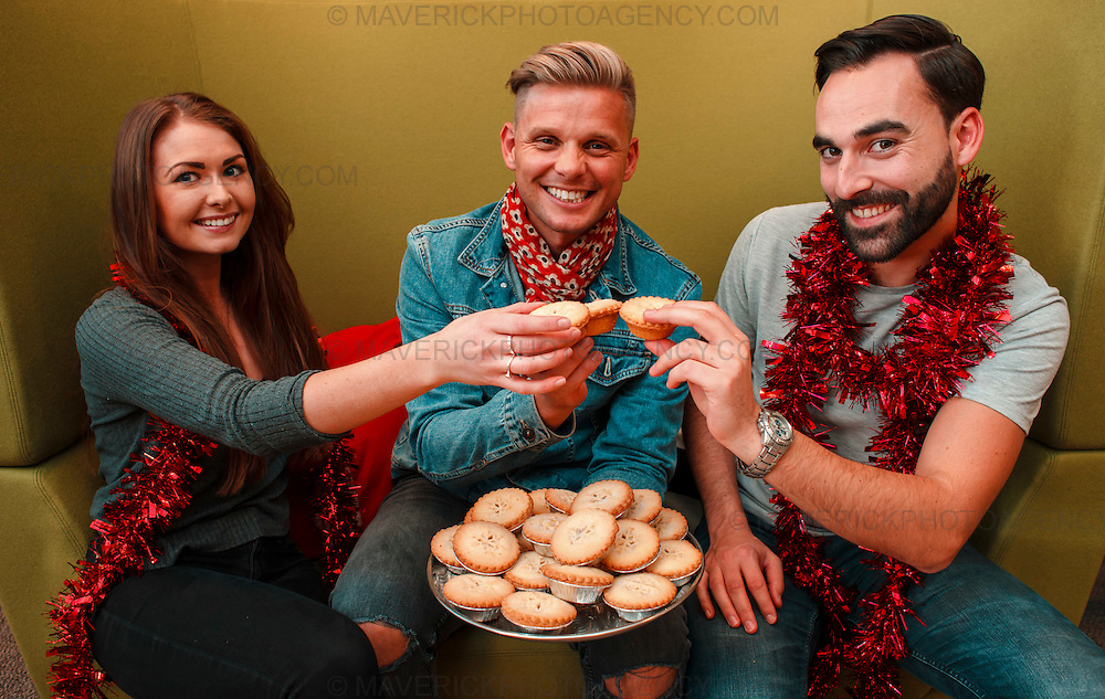 EDINBURGH, UK - November 2016: TV presenter and Peoples Postcode Lottery ambassador Jeff Brazier meets with staff at the lottery's headquarters in George Street, Edinburgh. Pictured Jeff meets with PPL fans Sophia Stoddart and Julien Machon. (Photograph: MAVERICK PHOTO AGENCY)