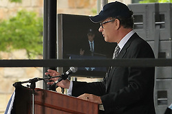 Tom Hanks gives Yale University Commencement Speech on Old Campus during Class Day Ceremonies. 22 May 2011, New Haven, CT. Tom visable on screen behind him on stage.